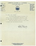 03/18/1949 Letter from the Lewiston Chamber of Commerce by William P. Tewhey