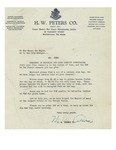 1949 Letter from H. W. Peters Co.