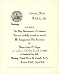 1947 Inaguration Day Exercises Invitation by City of Lewiston, Maine