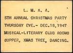 1947 L.M.A.A. Annual Christmas Party Invitation by Unknown