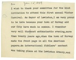 01/15/1949 First Annual Winter Carnival Speech, Norway, Maine