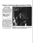 Franco-American play premiers Friday [Article] by David A. Sargent