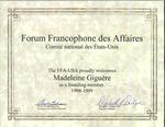 Forum Francophone des Affaires Certificate by Forum Francophone des Affaires