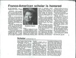 Franco-American scholar is honored Article by Ed Garland