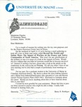 University of Maine at Orono Franco Series Letter with Attachments