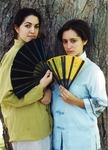 Rehearsal Photograph of Prostitutes Posing with Fan by University of Southern Maine Department of Theatre
