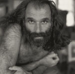 Bearded man with long hair, shirtless by Tom Antonik