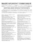 Maine Speakout Communique, Vol.1, No.1 (October 1995)