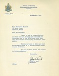 Letter from Governor John Reed to Charlotte Michaud by John Reed