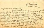 Note from Myrtle Mae [Keugie] Brockton, Massachusetts