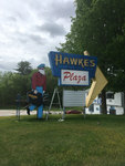 Westbrook: Hawkes Plaza Sign with Mask by Jessica Hovey