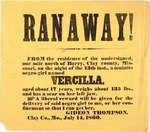 Runaway slave broadside from Clay County, Missouri, dated July 14, 1860. by Gideon Thompson
