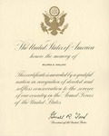 Certificate for Service in Memory of Wilfrid S. Mailhot from President Gerald R. Ford by Gerald R. Ford